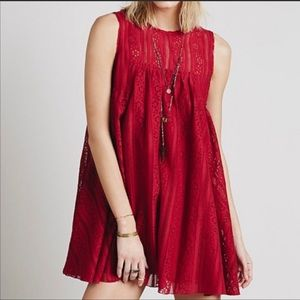 Free people Pink Lace Swing Dress size small